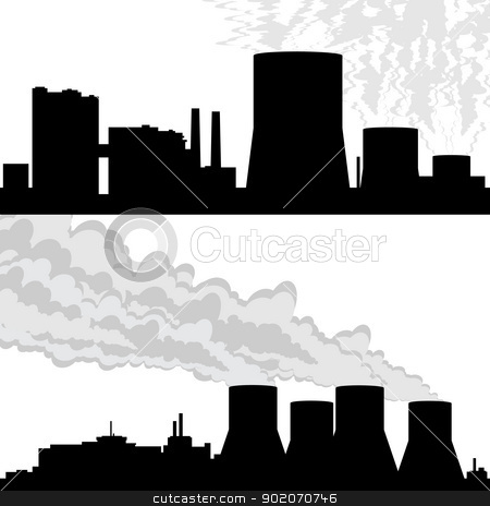 Contour of the nuclear power plant stock photo, Outline of buildings and structures at the nuclear power plant. Illustration on white background. by Sergey Skryl