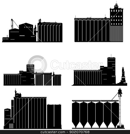 Elevator stock photo, Contour black and white illustration of a granary. Illustration on white background. by Sergey Skryl