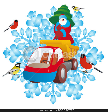 Father Frost and lorry stock photo, Santa Claus with a Christmas tree on a truck on the background of snowflakes. An illustration on a white background. by Sergey Skryl
