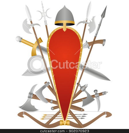 The pricking and cutting weapon stock photo, Weapon and armor of the ancient soldier. An illustration on a white background. by Sergey Skryl
