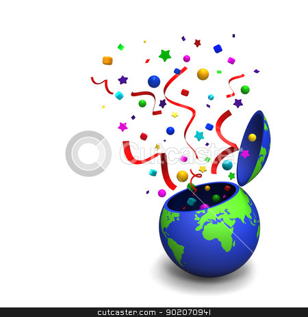 International festival started  stock photo, 3D model of the Earth toy with splashed decoration to present a starting of international festival by mrdoggs