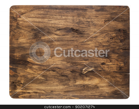 rustic cutting board stock photo, rustic cracked cutting board stained black, isolated on white by Marek Uliasz