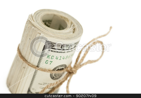 Roll of One Hundred Dollar Bills Tied in Burlap String on White stock photo, Roll of One Hundred Dollar Bills Tied in Burlap String Isolated on a White Background. by Andy Dean