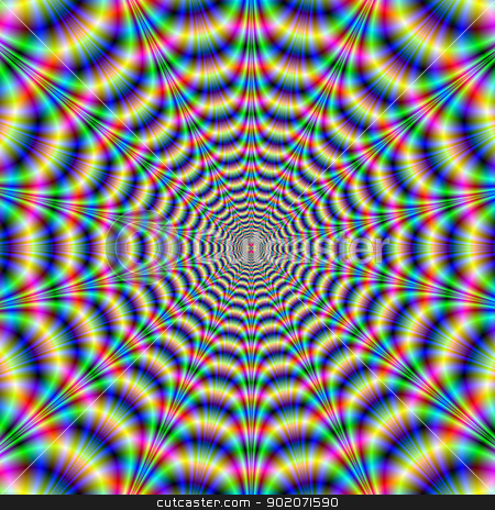 Psychedelic Eye Bender stock photo, Digital abstract image with a geometric fractal design in blue, green, red and yellow. by Colin Forrest
