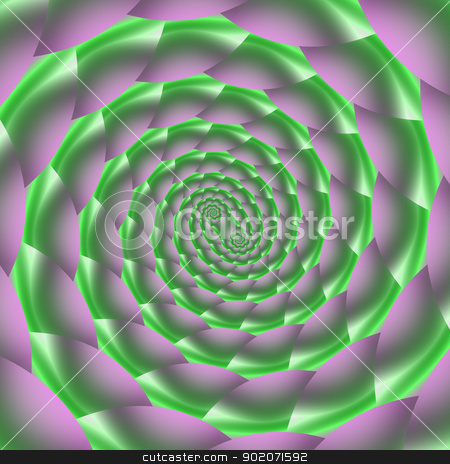Green and Lilac Spiral stock photo, Digital abstract image with a spiral design in green and lilac. by Colin Forrest