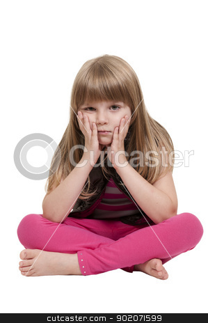 Little Girl Sitting stock photo, Beautiful little girl sitting with her legs crossed by Robert Byron