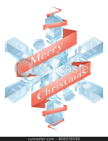 Christmas snowflake with ribbon stock vector clipart, Illustration of a Christmas snowflake or snowflake Christmas tree decoration with Merry Christmas ribbon  by Christos Georghiou