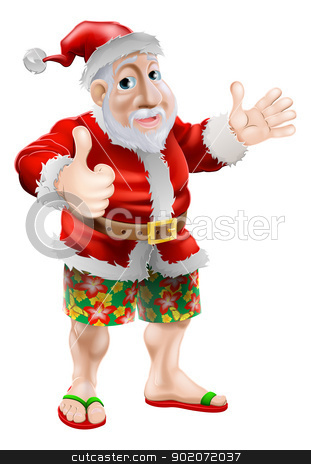Beach summer Santa stock vector clipart, Summer Santa in beach wear, long board shorts or Bermuda shorts and flip-flop sandals doing a thumbs up. by Christos Georghiou