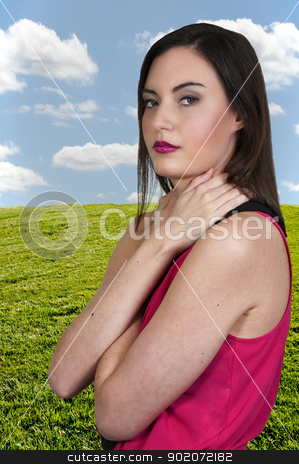 Beautiful Woman stock photo, A beautiful young woman looking far away by Robert Byron