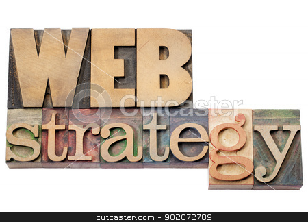 web strategy stock photo, web strategy - isolated text in vintage letterpress wood type blocks by Marek Uliasz
