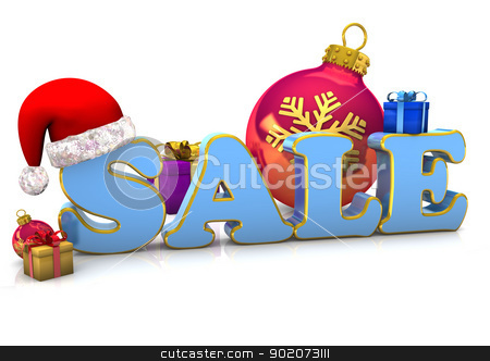 Christmas Sale stock photo, Text sale with gifts, bauble and santa cap. by Alexander Limbach