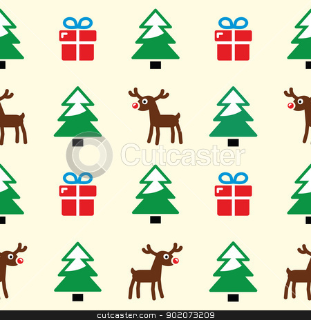 Christmas background - seamless pattern stock vector clipart, Xmas, winter pattern with presents, reindeer and christmas trees