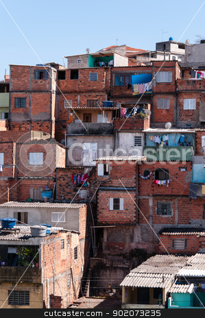 Shacks in the slum in Sao Paulo stock photo, Shacks in the slum in a poor neighborhood of Sao Paulo by Aurelio Scetta