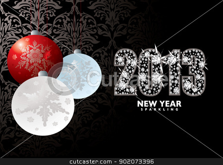Christmas new year 2013 stock vector clipart, Christmas background with baubles xmas balls and happy new year 2013 by Michael Travers