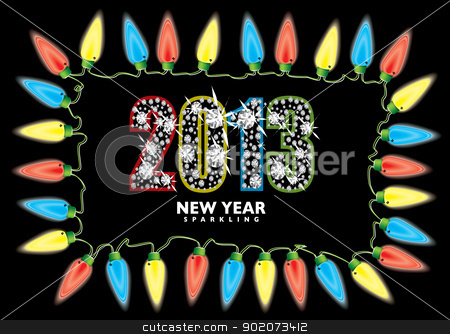 New year 2013 fairy lights stock vector clipart, Bright fairy lights with 2013 new year in diamonds by Michael Travers