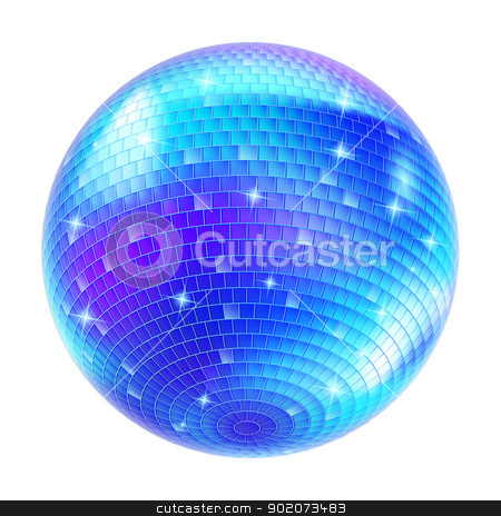 Mirror Disco Ball stock photo, Blue Disco Ball on white background for design by dvarg