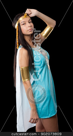 Ancient Egyptian woman - Cleopatra stock photo, Pretty woman in egyptian queen costume. Isolated on black by Aikon