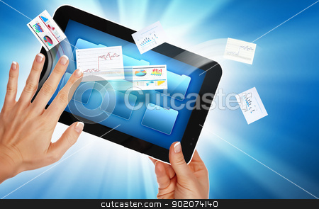 business   e commerce stock photo, business , e-commerce concept illustration with graphs and charts from computer by Sergey Nivens