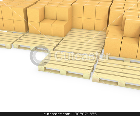 Stacks of cardboard boxes on a pallets stock photo, Stacks of cardboard boxes on a pallets isolated on white background by Zelfit