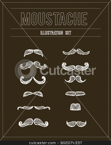 Mustaches doodle set  stock vector clipart, Mustaches doodle set  isolated on background by Natashasha