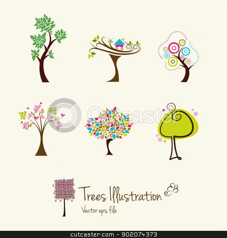 Tree art illustrations  stock vector clipart, Tree art illustrations  isolated on background by Natashasha