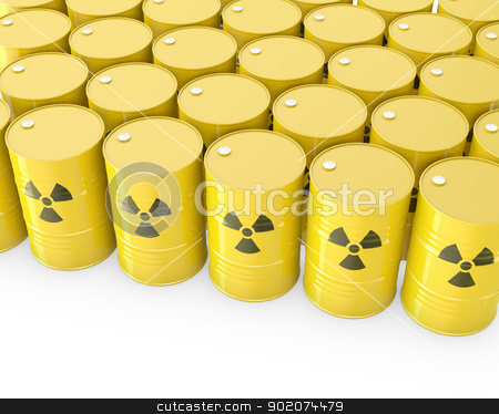 Barrels with radioactive symbol stock photo, Barrels with radioactive symbol, isolated on white background by Zelfit