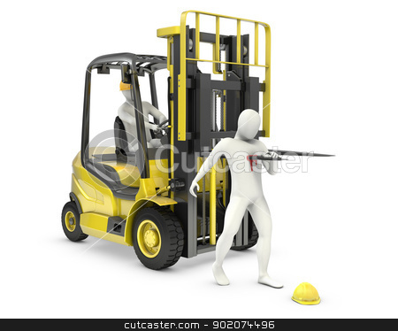 Abstract white man was injured by lift truck fork stock photo, Abstract white man was injured by lift truck fork, due to safety violation, isolated on white background by Zelfit