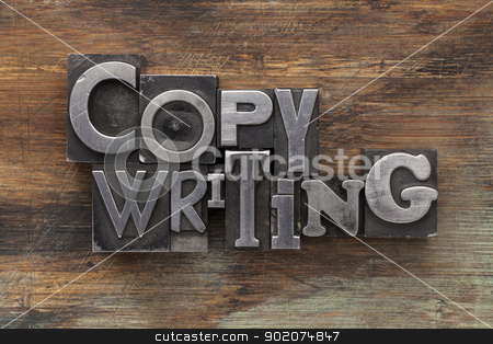copywriting in metal type blocks stock photo, copywriting - text in vintage letterpress metal type blocks on a grunge painted wood by Marek Uliasz