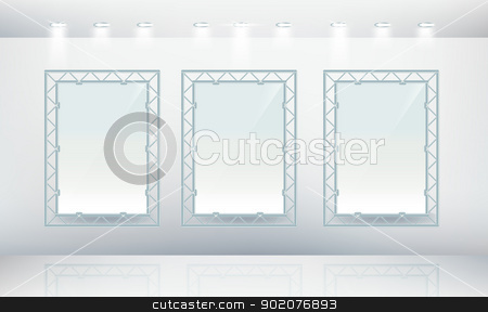 Three blank wall frames in gallery  stock vector clipart, Three blank wall frames in gallery  isolated on background by Natashasha