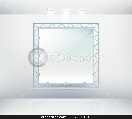 Empty wall canvas in gallery with metal frame  stock vector clipart, Empty wall canvas in gallery with metal frame isolated on background by Natashasha