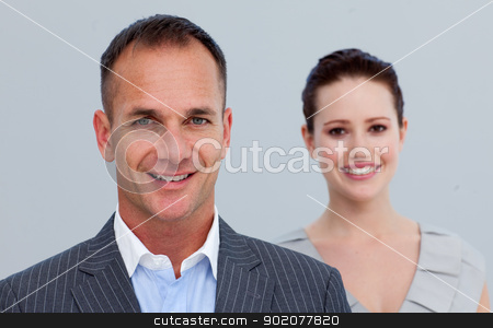 Portrait of a businessman with his female colleague stock photo, Portrait of a smiling businessman with his female colleague by Wavebreak Media
