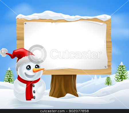 Cute Christmas Snowman and Sign stock vector clipart, Cute Christmas Snowman and Sign in a winter landcape by Christos Georghiou