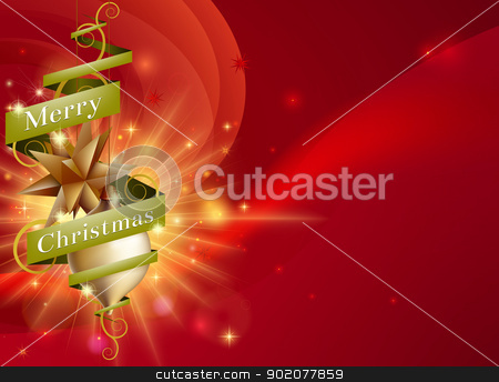 Merry Christmas red ribbon background stock vector clipart, A Merry Christmas red ribbon background with hanging ornament tree decorations, abstract light and green scroll ribbon with Merry Christmas text by Christos Georghiou