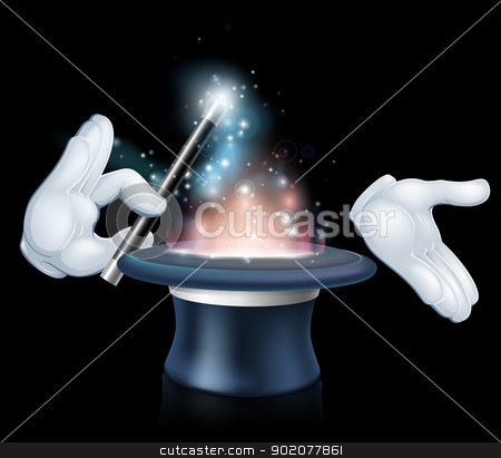 Magician wand and top hat trick stock vector clipart, Magician's hands holding a magic wand and waving it over a magical top hat by Christos Georghiou