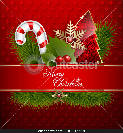 Merry Christmas Background stock vector clipart, 	Illustration of a Merry Christmas Background with ornaments and embellishment by Vladimir Repka