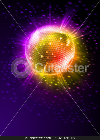 Mirror Disco Ball stock photo, Sparkling Disco Ball on Orange Light Burst by dvarg
