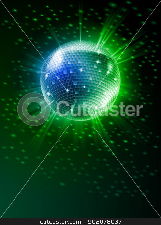 Mirror Disco Ball stock photo, Sparkling Disco Ball on Green Light Burst by dvarg