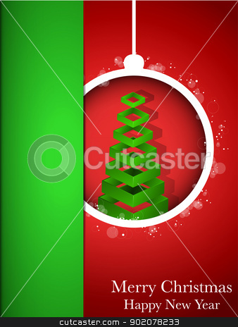 Merry Christmas Happy New Year Ball on Red Background stock vector clipart, Vector - Merry Christmas Happy New Year Ball on Red Background by AUGUSTO CABRAL