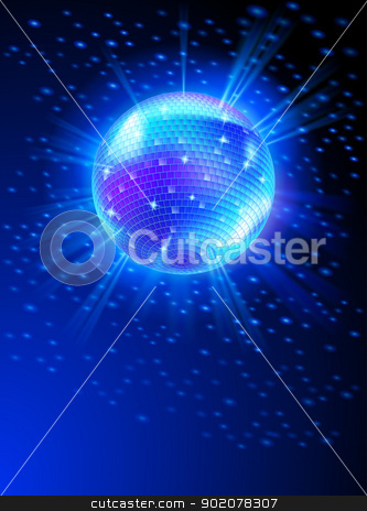 Mirror Disco Ball stock photo, Sparkling Disco Ball on Blue Light Burst by dvarg
