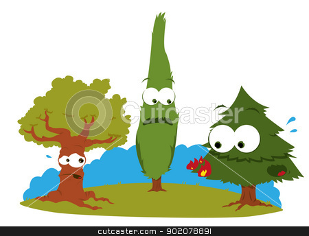 Funny Trees in Trouble stock vector clipart, a vector cartoon representing a group of funny trees having some troubles with fire by pcanzo