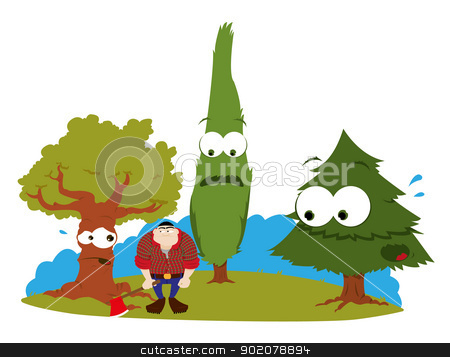 funny trees and logger stock vector clipart, a vector cartoon representing three funny trees and a logger by pcanzo