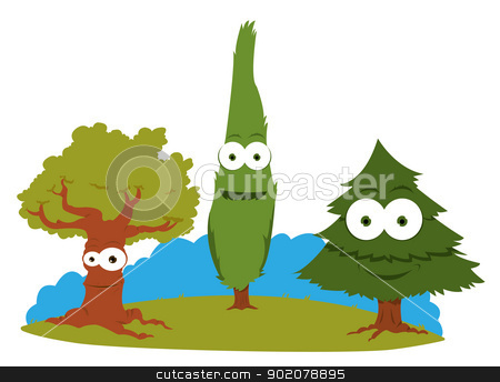 Funny Trees stock vector clipart, a vector cartoon representing a group of friendly trees by pcanzo