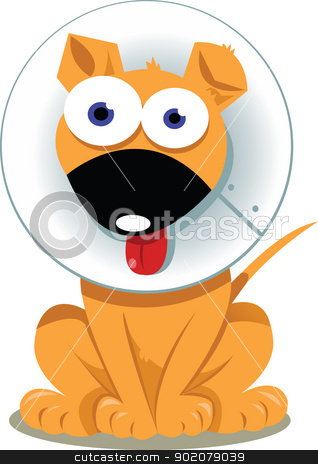 Funny Dog with Elizabethan Collar  stock vector clipart, a vector cartoon representing a funny dog wearing an elizabethan collar   by pcanzo