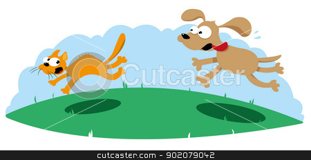Funny Dog Hunting a Cat stock vector clipart, a vector cartoon representing a funny dog hunting a cat by pcanzo