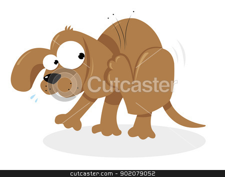 Doggie and Fleas stock vector clipart, a vector cartoon representing a cute dog having troubles with some fleas by pcanzo