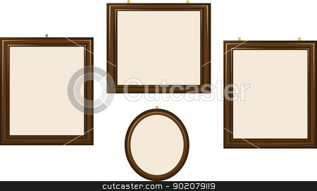 Empty Wooden Frames stock vector clipart, a group of empty frames of different shapes by pcanzo