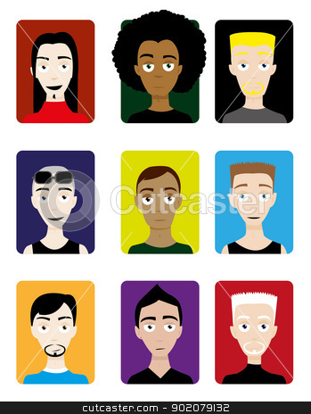 Set of Male Avatars stock vector clipart, A group of male faces, useful for avatars - every object is singly grouped in different layers, so you can easily create your own character    by pcanzo
