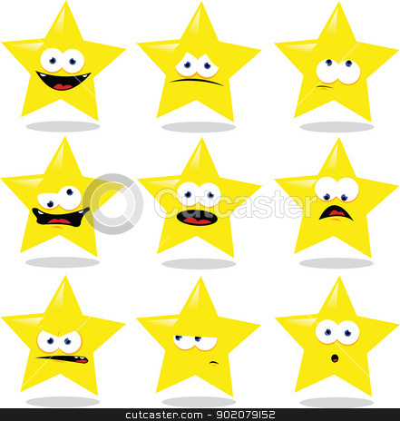 Funny Star stock vector clipart, a vector cartoon representing a funny star making different expressions by pcanzo