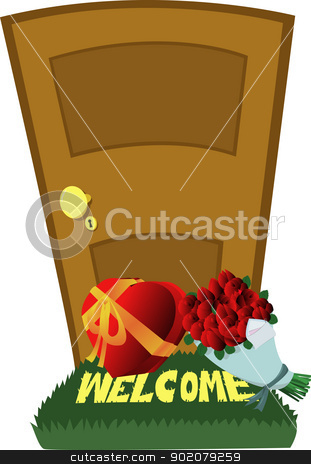 Valentine's Day Surprise stock vector clipart, A closed door and a Valentine's Day surprise: red roses and a gift box by pcanzo