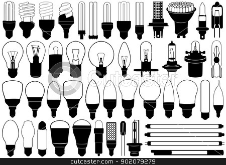 Light bulbs set stock vector clipart, Light bulbs set isolated on white by Ioana Martalogu